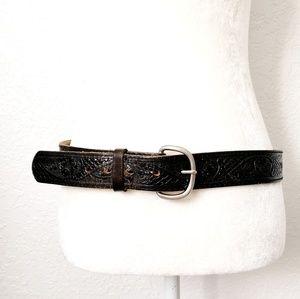 Vintage Black Leather Statement Western Belt XL 36
